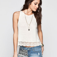 Chloe K Crochet Womens Hi Neck Tank Cream  In Sizes