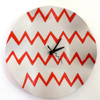 Record Clock, Home and Living, Decor and Housewares, Orange, Chevron, Unique Wall Clock, Eco Friendly Art,  Wall Decor, Unique Clock, TAGT