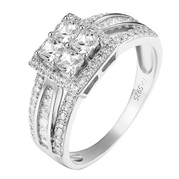 Princess Cut Solitaires Ring Engagement Ladies Simulated Diamond Sterling Silver