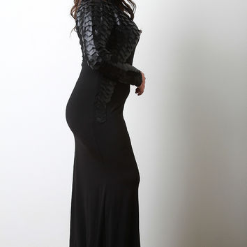 Vegan Leather And Mesh Scale Maxi Dress
