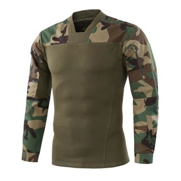 Hiking Shirt camping Refire Gear New Outdoor T-Shirt Men Camouflage Long Sleeve Tactical Shirt Quick Dry Hiking Rip-stop Hunting Tactical T-shirts KO_17_1