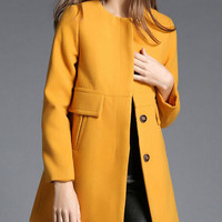 Yellow  Single Breasted Woolen Coat