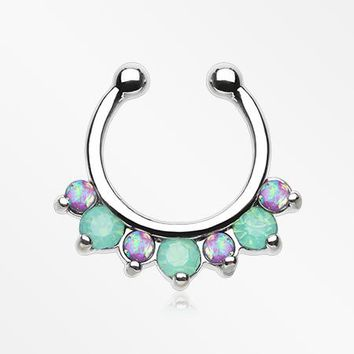 Opal Sparkle Deuce Fake Septum Clip-On Ring