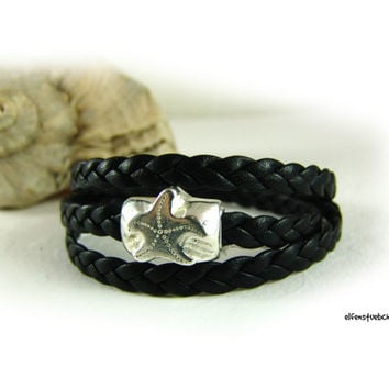 Wrap bracelet nappa leather bracelet women black starfish clasp silver - dark brown - nappa leather - women's bracelet leather  - for her