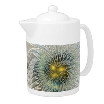 Golden Flower Fantasy, abstract Fractal Art Teapot