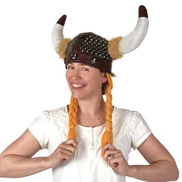 Viking Costume Deluxe Horned Black Cloth Helmet with Braids