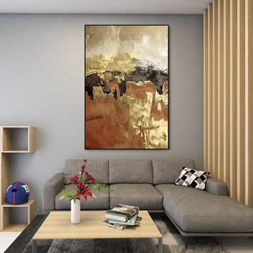 Modern Abstract acrylic Gold and black paintings on canvas art original texture painting Large wall pictures cuadros abstractos hand-painted