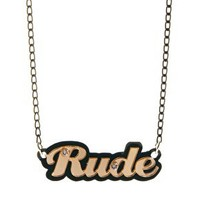 Funky Bling Rude Short Chain Necklace at asos.com