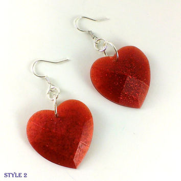 Heart earrings Resin earrings Heart jewelry Glittering earrings hearts Red hearts Orange hearts Apricot earrings Red earrings Present gift