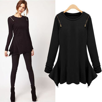 Long-Sleeve Zip-Shoulder Asymmetrical Shirt Dress