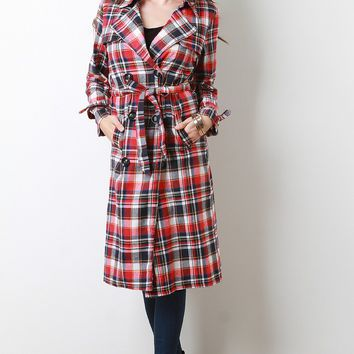 Classic Trench Plaid Double Breasted Coat