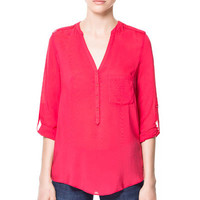 V-NECK BLOUSE WITH TABS - Shirts - Woman - ZARA United States