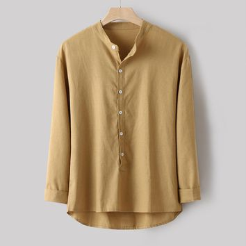 Fashion Men Casual Button-Down Shirt Simple Long Sleeve Cotton Linen Shirt Top Light Brown