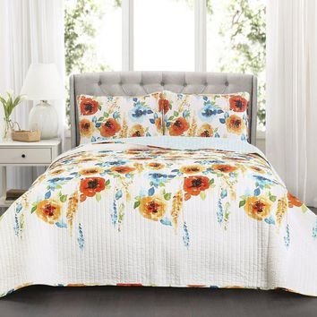 Spring Bloom Floral Bedding Quilt Set