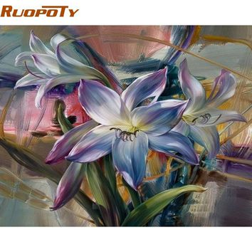 RUOPOTY Frame Purple Flower DIY Painting By Number Home Wall Art Picture Handpainted Abstract Oil Painting For Home Wall Artwork