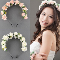 New Flower Garland Floral Bridal Headband Hairband Wedding Prom Hair Accessories = 1932674180
