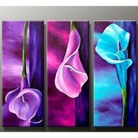 hand-painted promotion free shpping framed on the back oil wall art Charm purple home decoration abstract Landscape oil painting on canvas 8x20inchx3: Amazon.ca: Home & Kitchen