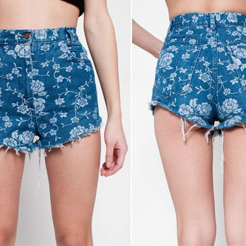 Reserved for Chontee Denim Cut Off Shorts with Floral by rumors