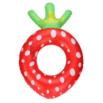 New Arrival Inflatable Summer Large Cute Strawberry Fruit Swimming Donut Pool Float ring #E0