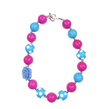 RTS Blue and Fuchsia Chunky Necklace