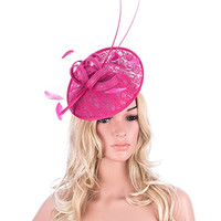 Hot Pink Womens Sinamay Kentucky Derby Feather Saucer Hat Fascinator T129