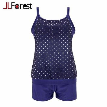 VONETDQ JLForest Navy Blue Dot Tankini Set Vintage Sling Two-Piece Swimsuits Women Plus Size 3XL Large Size Swimwear Bathing Suit Female