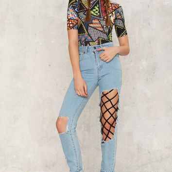 Jaded London Geometric Print Bodysuit