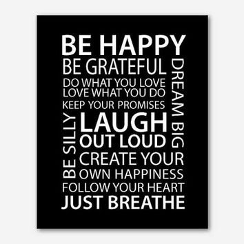 Family Rules - Be happy print - Laugh out loud - Just breathe - Follow your heart - Wall art Typography Inspiration 8x10 print Subway art