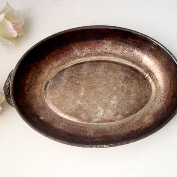 Vintage Silver Plate Dish, Patina Small Serving Tray, Shabby Chic Decor, Metal Bowl, Wedding Decor, Farmhouse Dining Table Vignette Decor