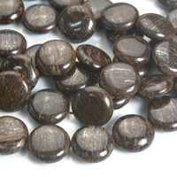 natural bronzite beads - dark brown gemstone beads - genuine bronzite beads - semiprecious stone beads - 18mm coin beads -15inch