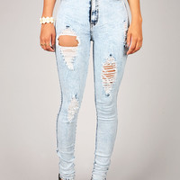 Roughed Up High Waist Skinnys | Denim Pants at Pink Ice