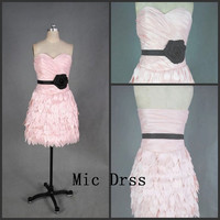 Sweetheart sleeveless mini taffeta pleated tiered  Prom /Evening/Party/Homecoming/cocktail /Bridesmaid/Formal Dress