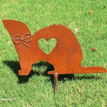 Ferret Metal Garden Stake - Metal Yard Art - Metal Garden Art - Pet Memorial