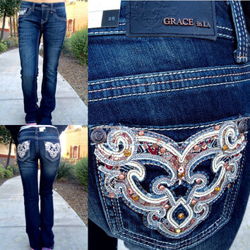 GRACE IN L.A. VERSAILLES BOOTCUT JEANS