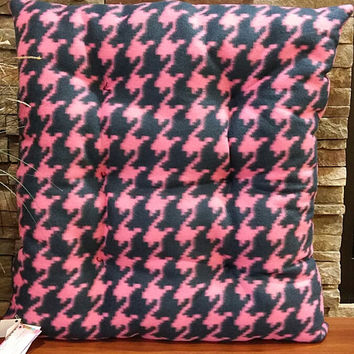 Houndstooth, Dog Bed, Pink, Navy, Fleece, Pet Beds, Cat Bed, Pet Pillow, Washable Dog Bed, Pet Supplies, Pet Cushion, FREE SHIPPING