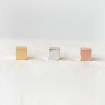 Simple Cube earrings / choose your color / gold, silver and pink gold