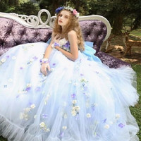 Colorful Handmade flowers Wedding Dresses 2017 New Tulle Strapless Zipper Ball Gown Appliques Off the Shoulder Vestido De Noive