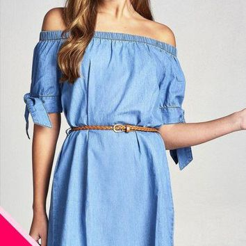 Ladies fashion plus size short sleeeve cuff w/bow tie off the shoulder w/belt chambray dress