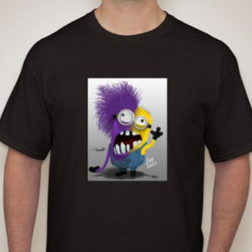 Half & Half Minion Adult Black T-shirt