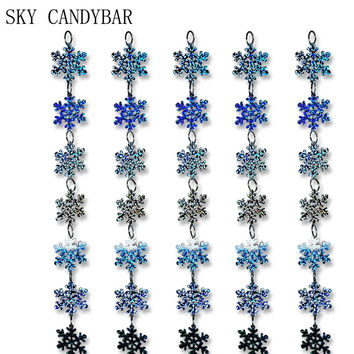 SKY CANDYBAR 5 strands / lot PVC sequins laser snowflake curtain,Christmas party and home decoration