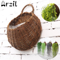 Wall Hanging Natural Wicker Flower Basket, Flower Pot Planter, Rattan Basket Garden Wall