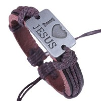 Handmade Genuine Leather Wrap Bracelet with I Love Heart Jesus Charm Brown