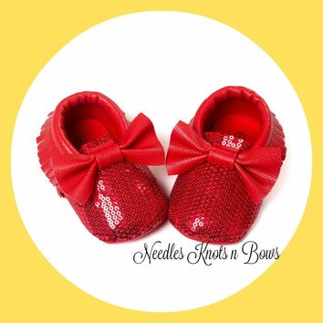 Girls Red Sequin Moccasins, Baby Girls Red Sequin Bow Mocassins