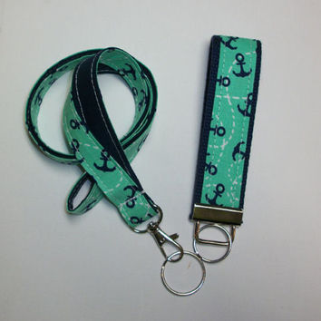 anchors Lanyard and Key fob Keychain Set - mint navy - teacher gift, coworker gift, gift for her, under 20