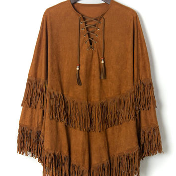 Khaki Suedette Lace Up Front Tasseled Cape