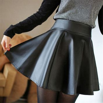 Faux Leather High Waist Skater Skirt