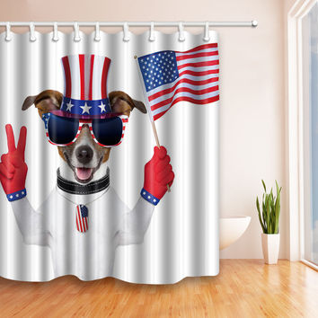 Digital printing polyester shower curtain waterproof curtains American flag Independence Day [11550525967]