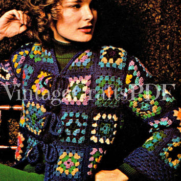 1970s Crochet Vintage Pattern | Granny Square Out of the Blue Jacket |Retro Crochet Sweater Coat-Easy Boho Jacket-Hippie Granny Square Coat