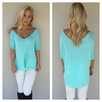 Mint V-Neck Basic Modal Top