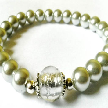 Silver Foil Bead and Silver Grey Bead Stretch Bracelet